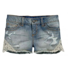 Women's Crocheted Lace Accented Denim Jean Shorts