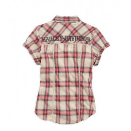WOMEN`S LACE INSET PLAID SHIRT, CREAM/ROSE