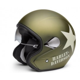 MILITARY RETRO 3/4 HELMET, OLIVE GOLD DENIM