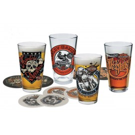 HARLEY DAVIDSON FREE WHEELING PINT GLASS SET