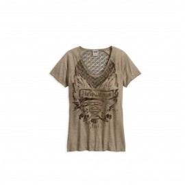WOMEN´S CROCHET LACE ACCENT TEE