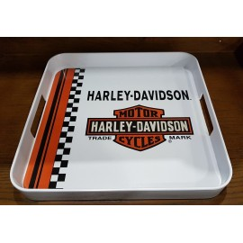 Harley-Davidson® Checkerboard Stripe Melamine White Serving Tray