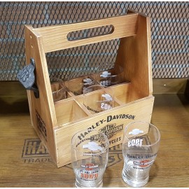 Harley-Davidson® Motorcycles Bar & Shield Wooden Crate Carrier Set