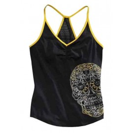 Harley-Davidson® Womens Performance Sugar Skull Mesh Racerback Black Sleeveless Tank