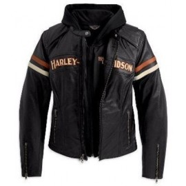 Harley-Davidson® Womens Miss Enthusiast 3 In 1 Black Leather Jacket
