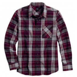 PLAID ZIPPERED POCKET LONG SLEEVE WOVEN SHIRT