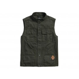 HARLEY DAVIDSON MEN'S SLIM FIT CANVAS SAFARI VEST, DARK GREEN