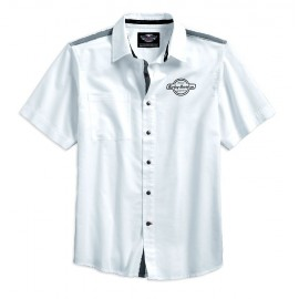 HARLEY DAVIDSON MEN'S CONTRAST SHOULDER STRIPE WOVEN SHIRT / SHORT SLEEVES