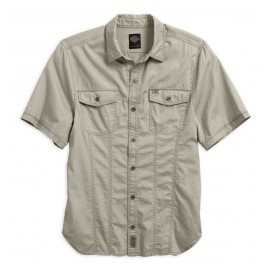 HARLEY DAVIDSON MEN'S GARMENT WASHED SHORT SLEEVE WOVEN SHIRT
