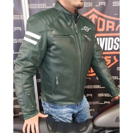 HARLEY DAVIDSON LEATHER JACKET THROWBACK DK GREEN
