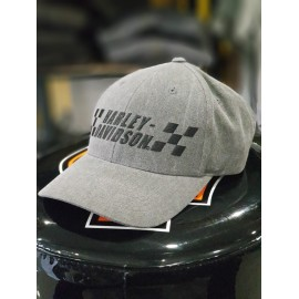 H-D STONE GRAY CHECKERED BASEBALL CAP