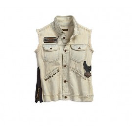 Side Zipper Denim Vest