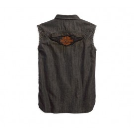 Sleeveless Denim Slim Fit Shirt