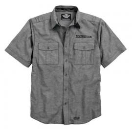 Harley-Davidson® Camisa tejida de manga corta con mezcla de lino texturizado
