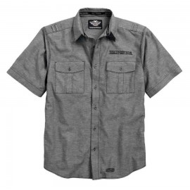 Harley-Davidson® Men's Textured Linen Blend Short Sleeve Woven Shirt