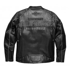 Harley-Davidson® Men's Votary Colorblocked Leather Jacket, Black