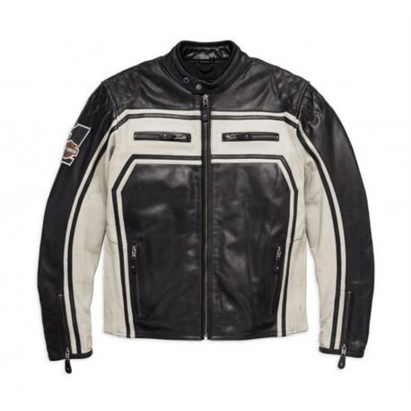 Harley-Davidson® Men's Votary Colorblocked Leather Jacket, Black