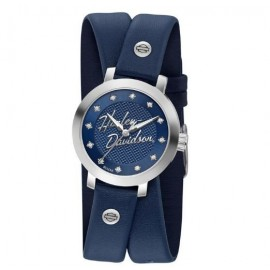 Womens Crystal Double Wrap Leather Watch - Blue BY H-D