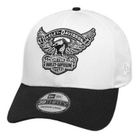 Harley-Davidson® Men's Embroidered Eagle 39THIRTY Baseball Cap, White
