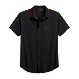 HARLEY-DAVIDSON® MEN'S LASER CUT POCKET STRETCH SHIRT - SLIM FIT