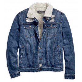 JACKET-SHERPA,FLEECE DENIM,BLU
