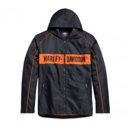 JACKET-WOVEN,BLACK/ORANGE BY HARLEY DAVIDSON