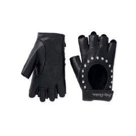 Embellished Fingerless Leather Gloves