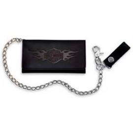Bar & Shield Logo Flames Tri-Fold Deluxe Biker Wallet