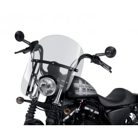 Quick-Release Compact Windshield With Black Braces XL - Light Smoke