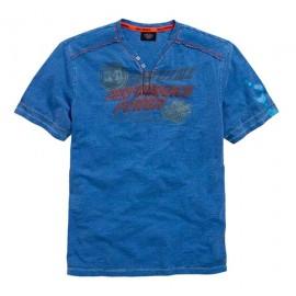 SHIRT S/S KNIT HENLEY BLUE