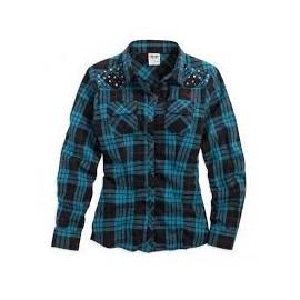 Womens Studded & Rhinestone Embellishments Blue Plaid Long Sleeve Woven Shirt