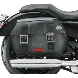 Distressed Black Leather Saddlebags