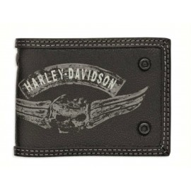 Wallet Bifold Winged Skull BLK